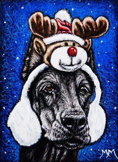 Art: Rudolph Ear Muffs  (SOLD) by Artist Monique Morin Matson