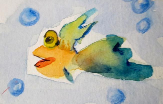 Art: Smiling Fish Aceo by Artist Delilah Smith