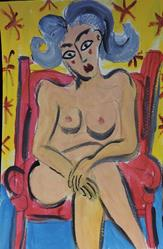 Art: nude in red chair by Artist Nancy Denommee