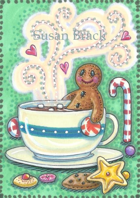 Art: GINGERBREAD MEN LIKE HOT TUBS WITH MARSHMALLOWS by Artist Susan Brack