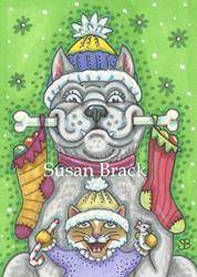 Art: LOOK WHAT SANTA BROUGHT! by Artist Susan Brack