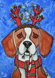 Art: Blitzen Beagle by Artist Melinda Dalke