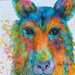 Art: dog abstract by Artist Ulrike 'Ricky' Martin