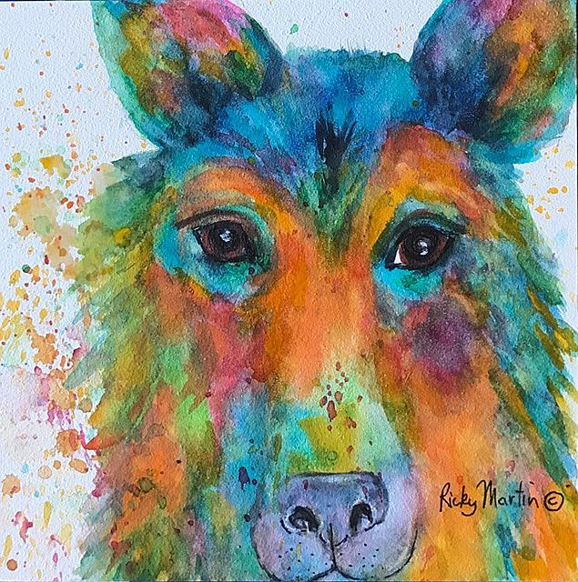 Art Dog Abstract By Artist Ulrike Ricky Martin