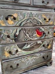 Art: Spring Will Come- Custom Painted Dresser by Artist Chris Jeanguenat