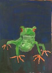 Art: FROGGY daily painting Jan 2 2017 by Artist Nancy Denommee
