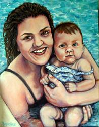 Art: Mama and Baby Portrait Commission by Artist Patience
