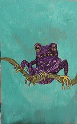 Art: purple frog by Artist Nancy Denommee