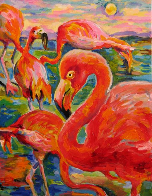 Art: The etude of Flamingos by Artist Luda Angel