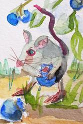 Art: Mouse and Blueberries by Artist Delilah Smith