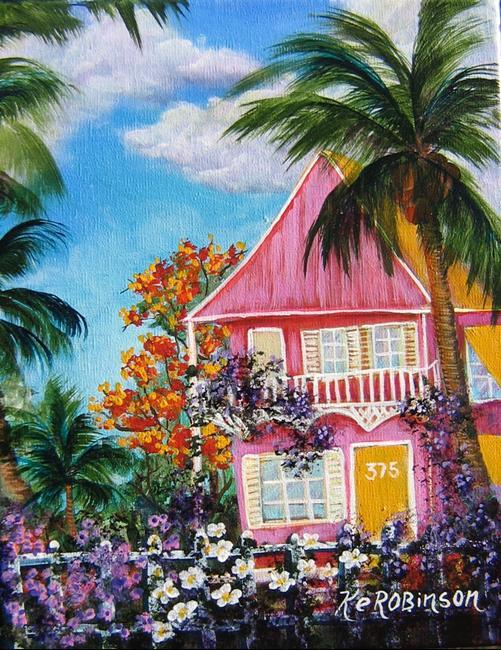 Art: Key West Pink House by Artist Ke Robinson