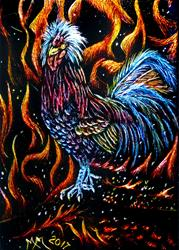 Art: Fire Rooster - SA124 by Artist Monique Morin Matson