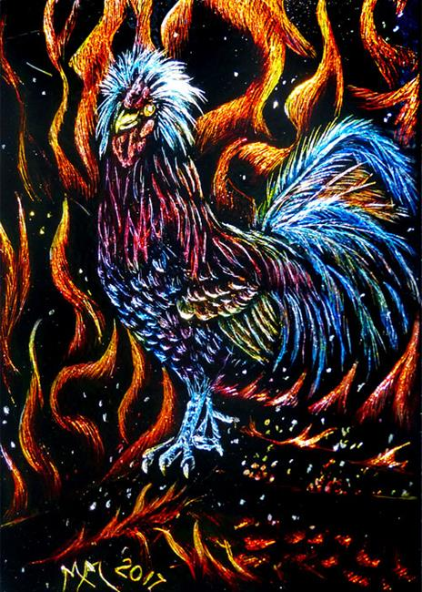 Art: Fire Rooster (SOLD) by Artist Monique Morin Matson