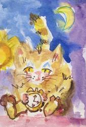 Art: Bed Time Fat Cat by Artist Delilah Smith