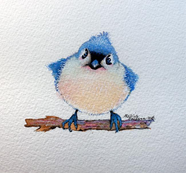 Art: BABY BLUEBIRD WATERCOLOR 5X5 by Artist Marcia Baldwin