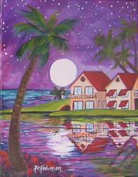 Art: Moon Over Miami  #6014 by Artist Ke Robinson