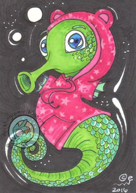 Art: Seahorse in a Hoodie by Artist Emily J White