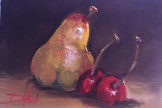 Art: Pear and Cherries by Artist Delilah Smith