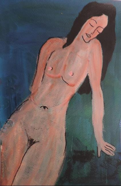Art: nude after modigliani by Artist Nancy Denommee