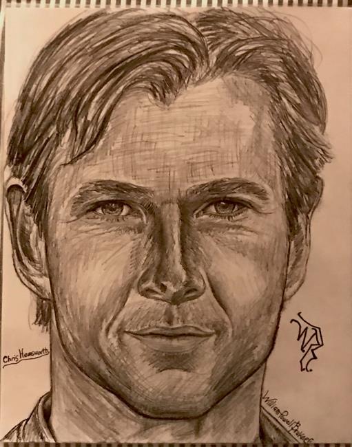 Art: Chris Hemsworth. as THOR by Artist William Powell Brukner