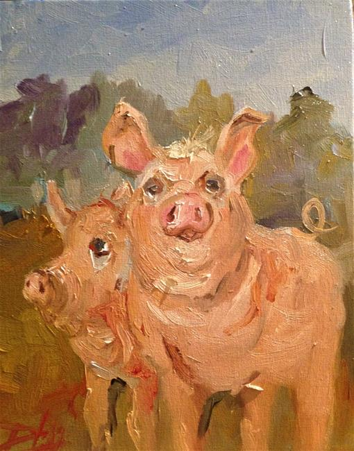 Art: Two Pigs by Artist Delilah Smith