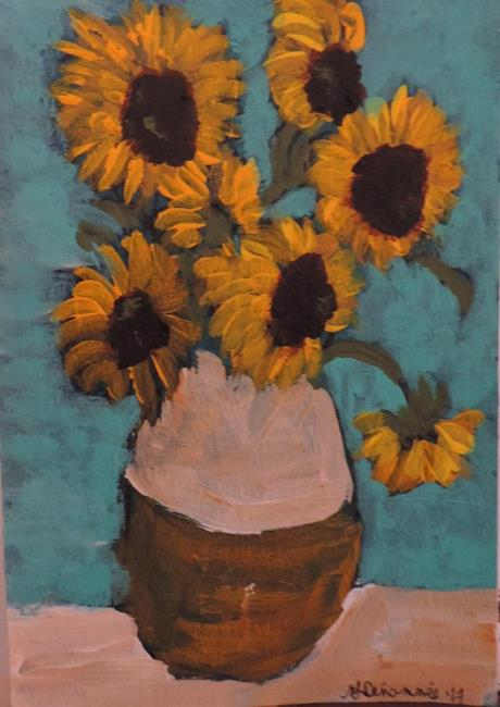 Art: sunflowers after van gogh by Artist Nancy Denommee