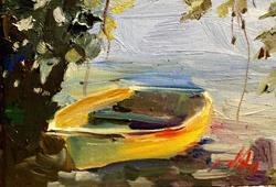 Art: Yellow Row Boat-sold by Artist Delilah Smith