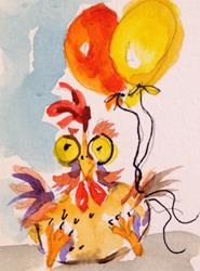 Art: Chicken and Balloons by Artist Delilah Smith