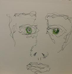 Art: face in line 3 by Artist Nancy Denommee