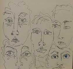 Art: faces in line by Artist Nancy Denommee