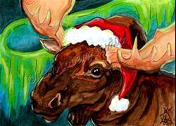 Art: SantaMoose150wmk.jpg by Artist Kim Loberg