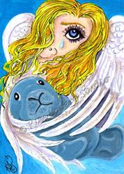 Art: Silent Angel & Manatee Calf by Artist Kim Loberg