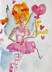 Art: Fairy with Heart Balloon by Artist Delilah Smith