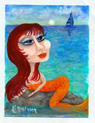 Art: Redhead Mermaid by Artist Ke Robinson