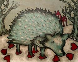 Art: Hedgehog and Hearts ( no.3) by Artist Chris Jeanguenat