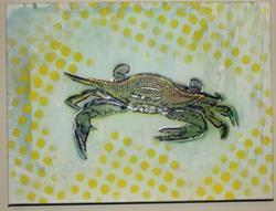 Art: Original Neon Crab Graffiti Pop Art by Artist Paul Lake, Lucky Studios