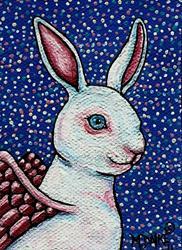Art: Angel White Rabbit by Artist Melinda Dalke