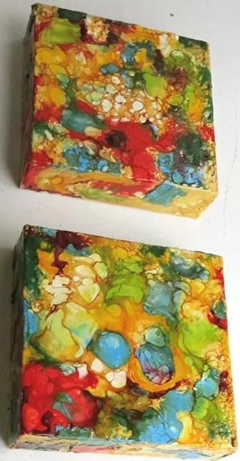 Art: Encaustic Abstracts set of 2 - sold by Artist Ulrike 'Ricky' Martin