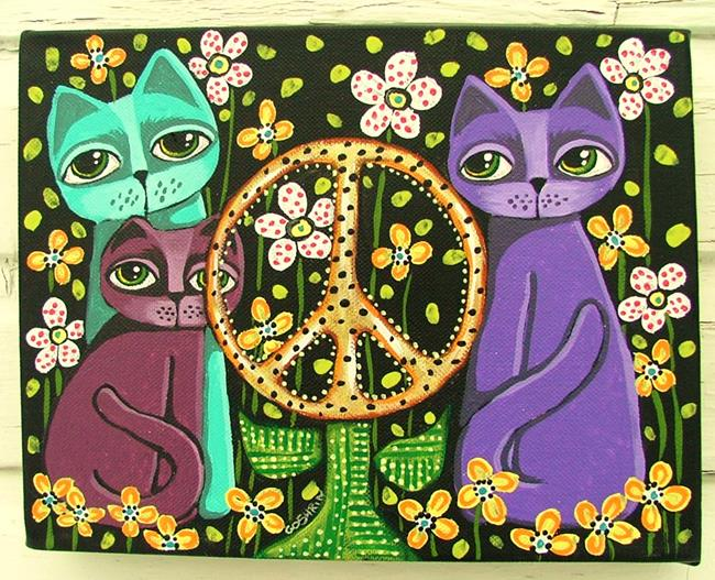 Art: Peaceful Cats by Artist Cindy Bontempo (GOSHRIN)