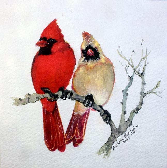 Art: OUT on a LIMB the Sassy Cardinal Pair by Artist Marcia Baldwin