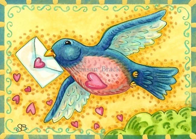 Art: A BLUE BIRD DELIVERY by Artist Susan Brack