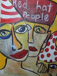 Art: red hat people by Artist Nancy Denommee