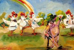 Art: Conga Chickens Go Irish by Artist Delilah Smith