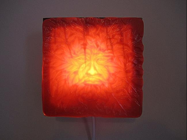 Art: Green Man Fused Art Glass Luminary by Artist Paul Lake, Lucky Studios