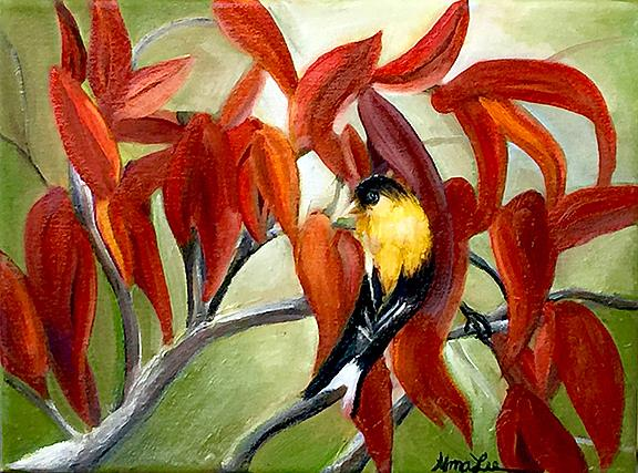 Art: Sumac and Goldfinch by Artist Alma Lee
