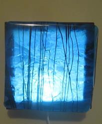 Art: Blue Inner Green man Art Glass Luminary by Artist Paul Lake, Lucky Studios