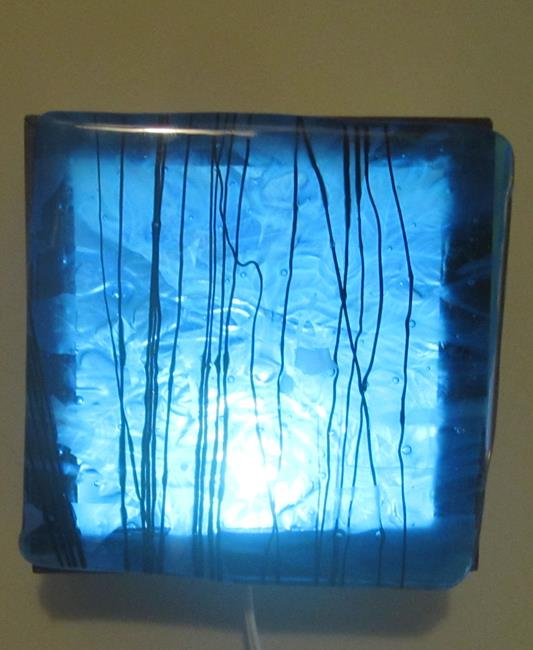 Art: Blue Inner Green man Art Glass Luminary by Artist Paul Lake, Lucky Studios