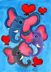 Art: Hearts N' Elephants by Artist Kim Loberg
