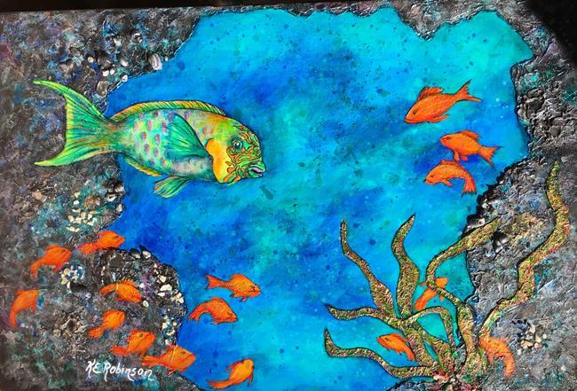 Art: BLACK CORAL CAVE -PARROT FISH 24x36 by Artist Ke Robinson