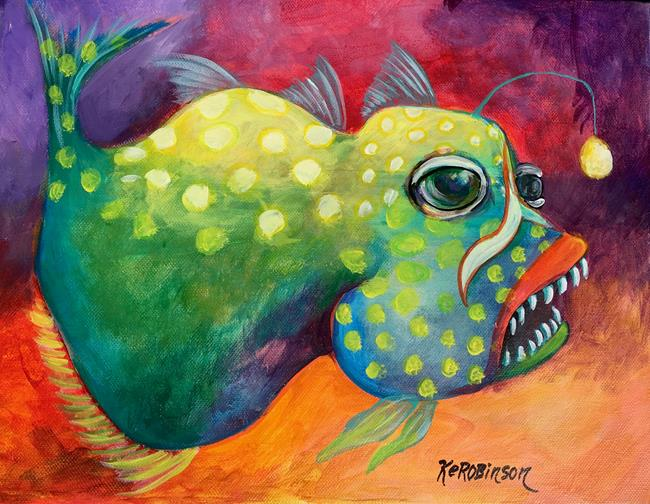 Art: Deep Sea Angler Fish 1670 by Artist Ke Robinson
